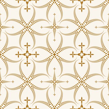 Seamless laurel wreath pattern. Curled, swirl stylized ornament with cross. Lace view texture. Ceremonial, remembrance, winter theme. Gold figure on light yellow background. Vector Illustration