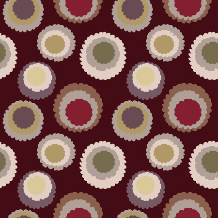 Seamless polka dot, motley texture. Abstract spotty pattern. Circles with torn paper effect. Brown, vinous, yellow colored. Chocolate cornflakes theme. Vector Illustration