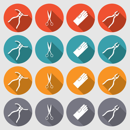 tongs: Tool icons set. Pliers, gloves, tongs, scissors. Repair fix symbols. Round red, orange, turquoise, gray colored circle flat signs with long shadow. Vector Illustration
