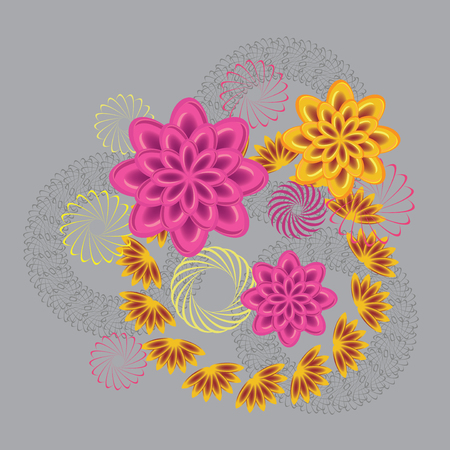 uncultivated: Abstract fancy of glass view flowers. Floral design. Daisy, chrysanthemum, wreath, wheats. Art holiday composition on light gray background. Vector