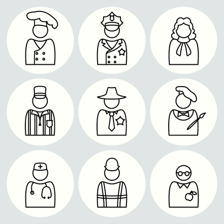 People profession icon set. Judge, artist, painter, referee, doctor, teacher, sherif, cook, builder, constructor, worker, policeman. Business symbols. Thin line black avatar silhouette on white buttons. Vector