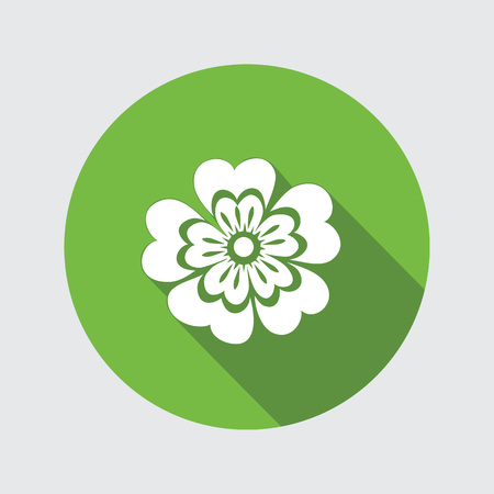 used: Primula flower icons. Spring flowers. Floral symbol. Round circle flat icon with long shadow. May be used in cuisine. Vector isolated.