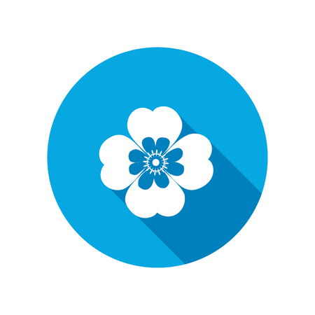 Chamomile, forget-me-not flower icons. Floral symbol. Round blue circle flat icon with long shadow. Vector Illustration