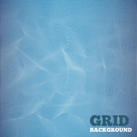 dispersed: Mesh pattern. Architectural, high-tech, grunge style design. White grid on blue background. Cyberspace texture. Vector