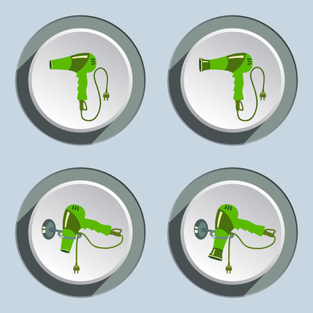 Hairdryer with two-pin plug icons set. Blow dryer on stand. Professional hairdresser tool symbol. Light-green sign on white-gray button. Vector