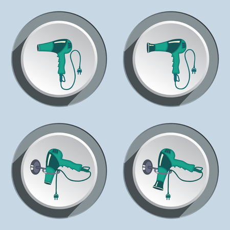 blow dryer: Hairdryer with two-pin plug icons set. Blow dryer on stand. Professional hairdresser tool symbol. Turquoise sign on white-gray button. Vector Illustration