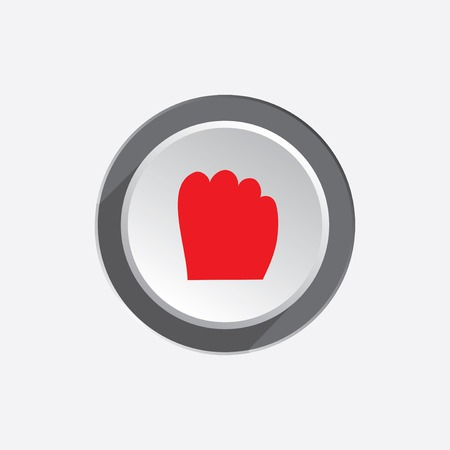 hand tool: Hand tool icon. Grip, take, catch, drag, move symbol symbol. Red sign on round three-dimensional white-gray button. Vector Illustration