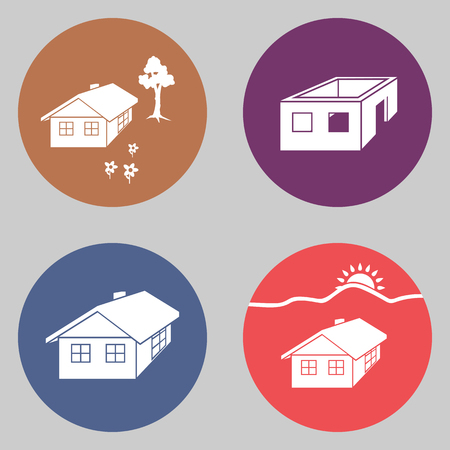 House icon set. Finished, unfinished building, tree, flowers. Complete, incomplete symbol. White signs on orange, blue, lilac, pink colored flat button. Vector