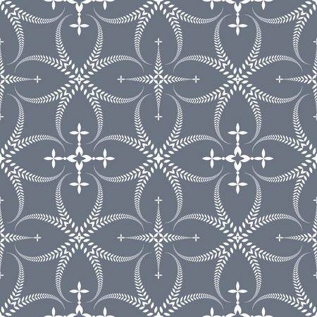 honouring: Religion seamless pattern. Laurel wreath, lace view texture with cross. Ceremonial, funeral background. Swirl stylized ornament. Gray, contrast colored. Vector