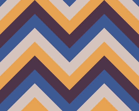 Striped, zigzagging seamless pattern. Zig-zag line texture. Stripy geometric background. Blue, brown, yellow contrast colored. Winter theme. Vector Illustration