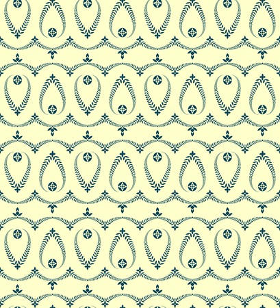 honouring: Religion seamless pattern. Laurel wreath, lace view texture with cross. Ceremonial, funeral background. Swirl stylized ornament. Yellow, blue colored. Vector