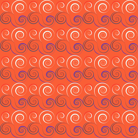 fabric patterns: Seamless floral spiral pattern. Curled, twirl lines. Floral theme climb ornament. Twist background. Orange, purple, white colors. Vector illustration