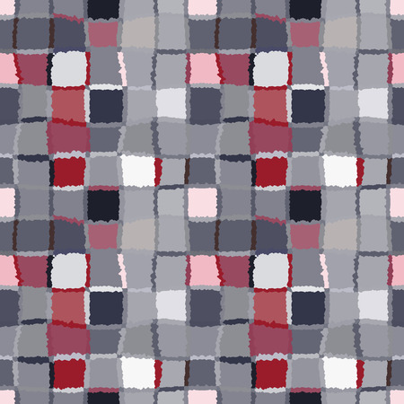 brindled: Seamless geometric mosaic checked pattern. Background of woven rectangles and squares. Patchwork, ceramic, tile texture. Gray, vinous, white colors. Vector Illustration