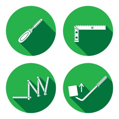 Meetinstrument, vouwmeter, beitel, hoek, schroot, pinchbar icoon. Reparatie, repareren, te verheffen, te meten, de bouw van hulpmiddel symbool. Ronde cirkel flat pictogram met lange schaduw. Plat ontwerp. Vector Stock Illustratie