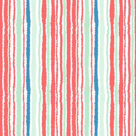 wrinkly: Seamless strip pattern. Vertical lines with torn paper effect. Shred edge background. Cold, soft, green, blue, red, white colors. Winter theme. Vector