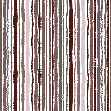 torn edge: Seamless striped pattern. Vertical narrow lines. Torn paper, shred edge texture. Brown, white colored background. Vector