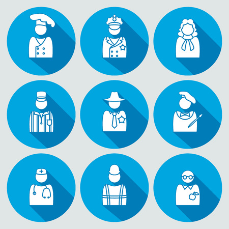 sherif: People profession icon set. Judge artist referee doctor teacher sherif cook worker policeman. Person, avatar symbols. Round white sign on blue flat button with long shadow. Vector Illustration