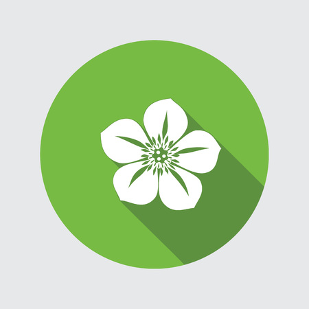 Hellebore, Caltha flower icons. Spring floral symbol. Round circle flat icon with long shadow. Vector