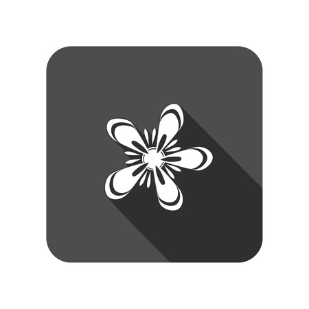 gray anemone: Spring flower icon. Anemone floral symbol. Round circle flat icon with long shadow. Vector Illustration