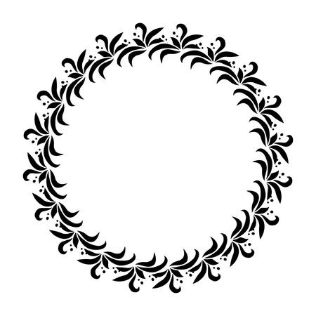 Laurel wreath circle tattoo. Black stylized ornament, leaves with berry sign on white background. Victory Illustration