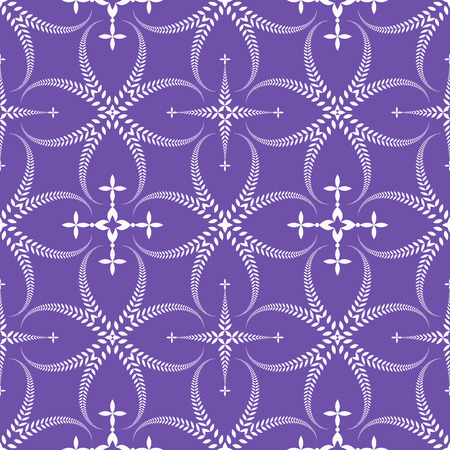 winter wheat: Religion seamless pattern. Laurel wreath, lace view texture with cross. Ceremonial background. Swirl stylized ornament. Lilac, contrast colored. Vector