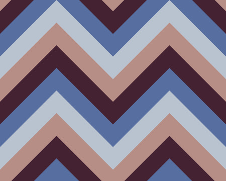 striated: Striped, zigzagging seamless pattern. Zig-zag line texture. Stripy geometric background. Blue, brown,beige contrast colored. Winter theme. Vector Illustration