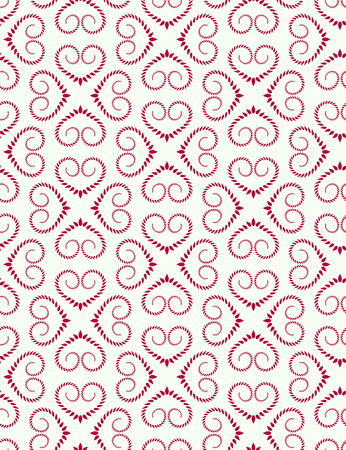Seamless lace pattern. Vintage curled texture. Swirl floral heart signs. Twist ornament of laurel leaves. Magenta figures on dark white background. Love, birthday, Valentine day, sale. Vector Illustration