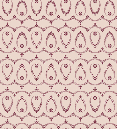 Religion seamless pattern. Laurel wreath, lace view texture with cross. Ceremonial, funeral background. Swirl stylized ornament. Vinous, rose contrast colored. Vector