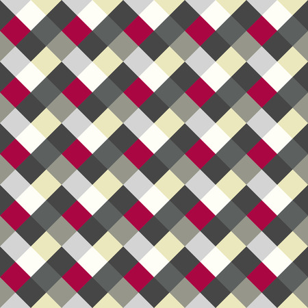 braiding: Seamless geometric checked pattern. Diagonal square, braiding, woven line background. Patchwork, rhombus, staggered texture. Red, white, gray, cold colored. Winter theme. Vector