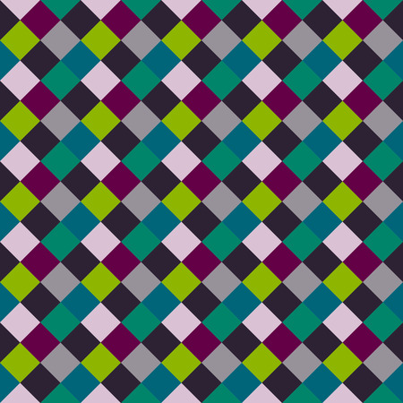 Seamless geometric checked pattern. Diagonal square, woven line background. Patchwork, rhombus, staggered texture. Gray, green, vinous colors. Vector Illustration
