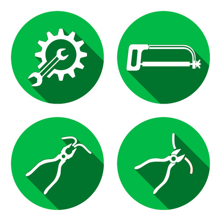 tongs: Tools icons set. Saw, pliers, tongs, cogwheel, wrench key, nippers. Repair fix symbols. White sign on round circle flat button with long shadow. Vector