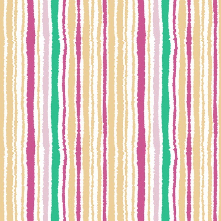 torn edge: Seamless striped pattern. Vertical narrow lines. Torn paper, shred edge texture. Magenta, white, yellow contrast colored background. Vector