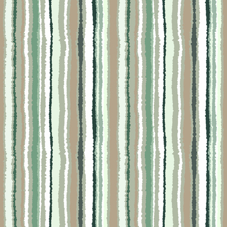 torn edge: Seamless striped pattern. Vertical narrow lines. Torn paper, shred edge texture. Green, white, olive contrast colored background. Vector