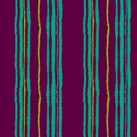 torn edge: Seamless striped pattern. Vertical narrow lines. Torn paper, shred edge texture. Turquoise, purple contrast colored background. Vector Illustration
