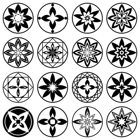 black luck: Floral ornament tattoo set. Flowers in star, aster sign of 4 and 8 rays. Black stylized ornaments, signs on white background.  Harmony, defense, luck, infinity symbol. Vector