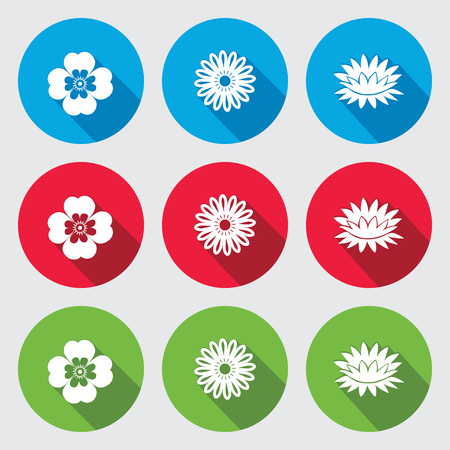 nymphaea: Flower set. Camomile, Chamomile, forget-me-not, lily, water-lily. Floral symbol. Round red, green, blue flat icons with long shadow. Vector isolated.