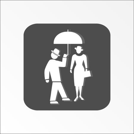 familiarity: People icon. Two persons. Meeting, familiarity, friends, love symbol. White sign on dark gray flat button with shadow. Vector Illustration