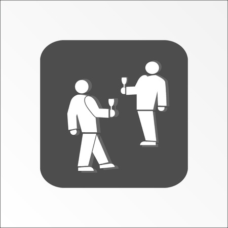 familiarity: People icon. Two persons with drinks. Meeting, familiarity, friends, succes deal symbol. White sign on dark gray flat button. Vector