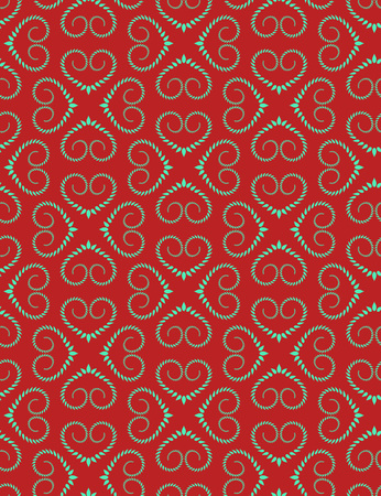 swirl: Seamless lace pattern. Vintage curled texture. Swirl floral heart signs. Twist ornament of laurel leaves. Green figure on red background. Love, birthday, Valentine day, sale. Vector