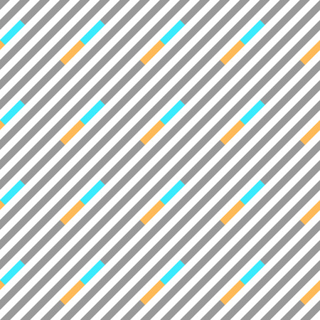 brindled: Seamless geometric pattern. Stripy texture. Diagonal gray, blue, yellow strips on white background. Vector Illustration