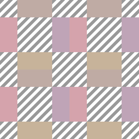brindled: Seamless geometric checkered pattern. Stripy square texture. Diagonal gray, white strips and pastel colored beige, rose, rectangles. Vector