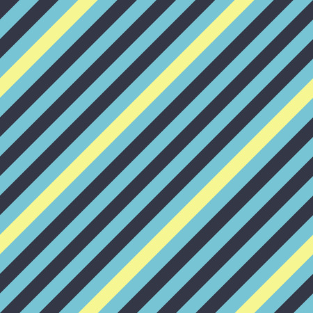 striated: Seamless geometric pattern. Stripy texture for neck tie. Diagonal contrast strips on background. Blue, yellow colors. Vector Illustration