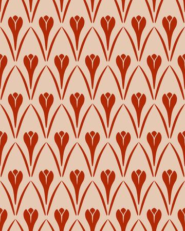 contrast floral: Seamless floral pattern. Crocus vintage background. Flower texture. Red orange contrast colored. Vector Illustration