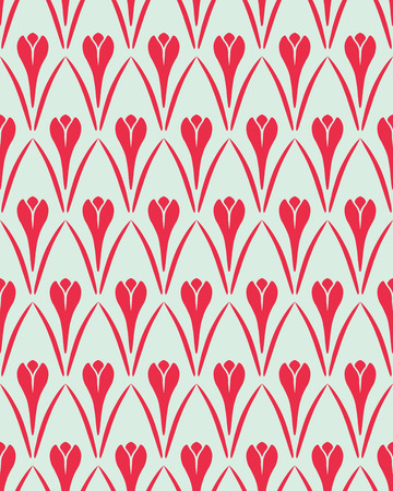 Seamless floral pattern. Flower Crocus vintage background. Saffron herb cuisine texture. Red and light gray contrast colored. Vector