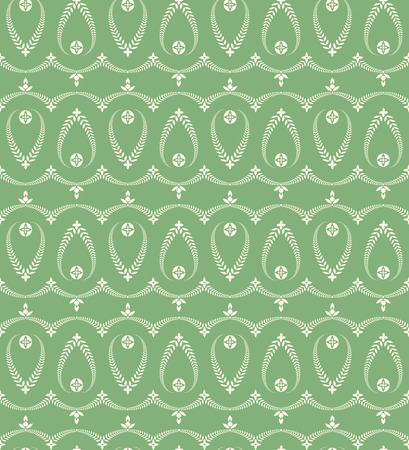 Religion seamless pattern. Laurel wreath, lace view texture with cross. Ceremonial, funeral background. Swirl stylized ornament. White, green, soft colored. Vector