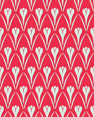 contrast floral: Seamless floral pattern. Flower Crocus vintage background. Saffron herb cuisine texture. Red and light gray contrast colored. Vector