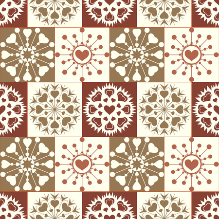 checked background: Christmas seamless pattern of heart snowflakes. New Year, Valentine day, birthday texture. Gold, green, yellow, white colored signs on checked background. Winter theme. Vector