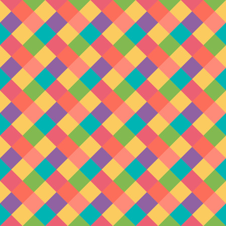 kitsch: Seamless geometric pattern. Diagonal square, braiding, woven line background. Strapwork texture in warm, brigth, variegated, kitsch, festival, clown, holiday colors. Rhomb figure texture. Vector