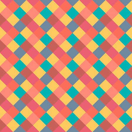 brigth: Seamless geometric pattern. Diagonal square, braiding, woven line background. Strapwork texture in warm, brigth, variegated, baby, festival, clown, holiday colors. Rhomb figure texture. Vector