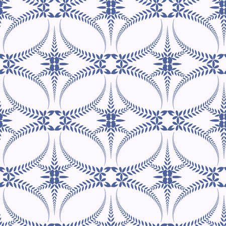 solemn: Seamless laurel wreath pattern. Spiral, swirl, solemn, ceremonial stylized ornament with cross. Vintage, curled, lace view texture. Winter theme. Blue figure on white background. Vector illustration Illustration